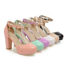 Heels: approx 9 cm Platform: approx 3 cm Color: White, Black, Pink, Beige, Green, Purple Size: US 3, 4, 5, 6, 7, 8, 9, 10, 11, 12 (All Measurement In Cm And Please Note 1cm=0.39inch) Note:Use Size Us