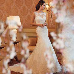 Vestido de Novia Corte Sirena Escote en U Encaje y Tul @ Vestidos de Novia Blog