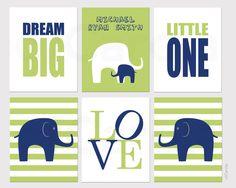 Dream Big Little One Elephant Wall Art Name Print Set by ofCarola, $49.00