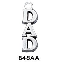 Sterling Silver Vertical Dad Word Charm