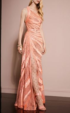 One Shoulder Sequin Gown  by ELIE SAAB for Preorder on Moda Operandi