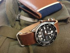 Seiko diver 200 leather bracelet