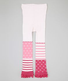 Another great find on #zulily! Ivory & Pink Polka Dot Footless Tights - Infant, Toddler & Girls #zulilyfinds