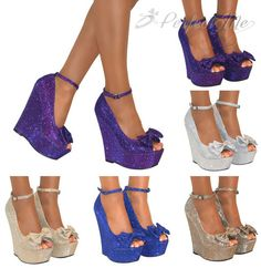 WOMENS GLITTER PEEP TOE BOW HIGH WEDGE HEELS SHOE PLATFORM STRAPPY SANDALS SIZE