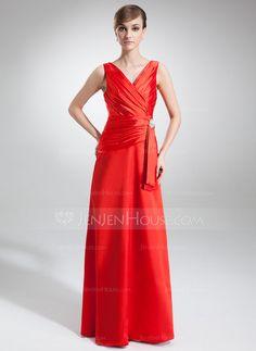 Corte A/Princesa Escote en V Vestido Charmeuse Vestido de noche con Volantes Alfiler Flor Cristal (017002579) - JenJenHouse