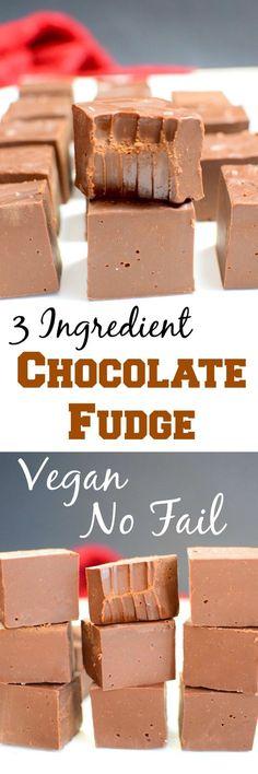 Vegan (Dairy Free) Chocolate Fudge! Only 3 ingredients, no candy thermometer needed! Vegan, Gluten free, no fail, no bake, #vegan, #glutenfree, #nutfree, #soyfree, #nofail