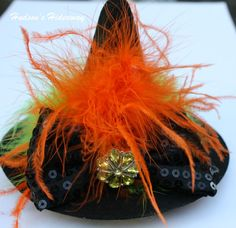 Mini felt witch hat marabou and ostrich by hudsonshideaway on Etsy, $22.95