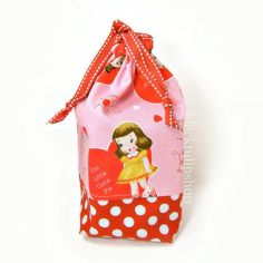 Retro Bag Drawstring Bag Cute Love Red White by blacktulipshop, $9.00