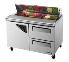 "Turbo Air TurboAir Super Deluxe Sandwich/Salad Unit 12 cu. ft. - TST-48SD-D2    Super Deluxe Sandwich/Salad Unit, two-section, 12 cu. ft., s/s top w/12-pan opening, (1) s/s door w/recessed handle, (2) s/s drawers w/recessed handles, s/s interior & exterior, (1) s/s wire shelf, 5"" casters, self-contained rear mounted refrigeration system, 1/3 HP, NSF, 2 Year Parts & Labor Warranty"