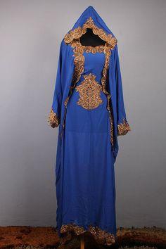 Moroccan Hoodie CAFTAN Blue Chiffon Abaya Maxi Dress Gold Embroidery Jalabiya #Handmade #MaxiDress #ChristmasEIDpartywedding