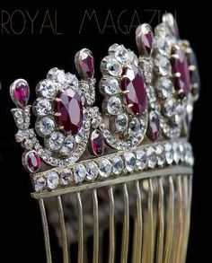 Imperial French Crown Jewels Ruby Rubies Parure Suite | Imperatrice Empress Kaiserin Comb #chaumet tiara jewels