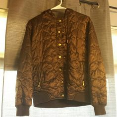 Brown puffy jacket Loved this when it fit me! Warm and comfy jacket with heart stitching through out. Gold buttons and zippers with hood! Please feel free to make an offer. Ask any questions you may have! Charlotte Russe Jackets & Coats