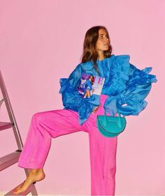 Pink Fashion, Colorful Fashion, Fashion Prints, Fashion Outfits, Fashion Design, Face Charts, Pink Outfits, Colourful Outfits, Beatnik Style
