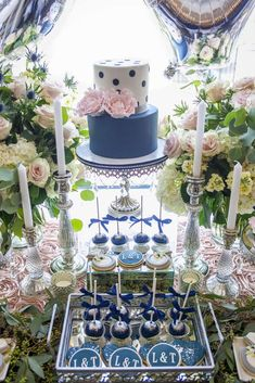 Navy and Blush Pink Luncheon Bridal/Wedding Shower Party Ideas   Photo 2 of 40   Catch My Party