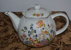 Vintage 1989 Porcelain Teapot, Robinson Design Group, Floral With Gold Trim, EX!
