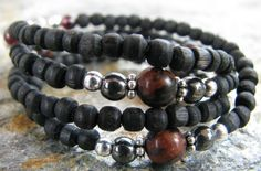 Men's Tulsi Necklace with Mohogany Obsidian and by KayleeCreations, $24.00
