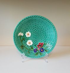 Vintage Majolica Bowl, Basket Weave with Wild Flowers, Zell Baden, made in Germany by on Etsy Retro Vintage, Vintage Items, Recycled Materials, Green Leaves, Basket Weaving, Wicker Baskets, Wild Flowers, Recycling, Hand Painted