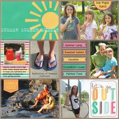 Project LIfe, Summer, pocket scrapbooking - love the colour co-ordination Project Life Scrapbook, Project Life Album, Project Life Layouts, Project Life Cards, Pocket Page Scrapbooking, Digital Scrapbooking, Scrapbooking Ideas, Scrapbook Sketches, Scrapbook Page Layouts