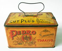 another view of this vintage tobacco tin packaging