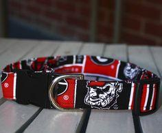 Dog Collar Large Handmade using University of Georgia Bulldog Fabric