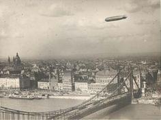 1931 - Graf Zeppelin over Budapest and the Elizabeth bridge