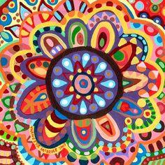 Painted by Thaneeya McArdle Folk Art Flowers, Flower Art, Mexican Folk Art, Pattern Drawing, Art Plastique, Mandala Art, Art For Kids, Art Projects, Canvas Art