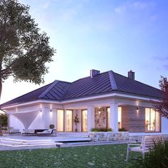 Modern walls and floors by biuro projektów mtm styl - domywstylu. Bungalow House Plans, Bungalow House Design, Bedroom House Plans, Modern House Plans, Small House Plans, House Exterior Color Schemes, Bali House, Prefabricated Houses, One Story Homes