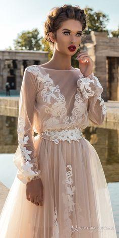 victoria soprano 2018 bridal long sleeves illuson bateau v neck light embellishment romantic blush color a line wedding dress sheer back sweep train (leila) zv -- Victoria Soprano 2018 Wedding Dresses