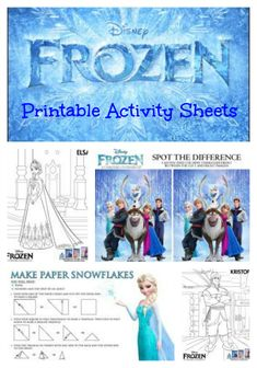 Disney Frozen Printable Activity Sheets for the kids holiday parties