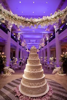 The couple's seven-layer wedding cake was designed to replicate the lace and floral details on the bride's wedding dress. #TallWeddingCake Photography by: Michael Carr Photography. Read More: http://www.insideweddings.com/weddings/exceptional-wedding-event-in-historical-houston-building/468/#.VXClxuDKRVk.gmail