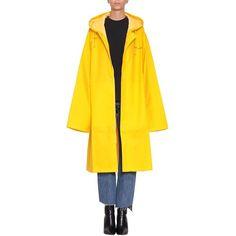 Vetements Logo rain coat ($548) ❤ liked on Polyvore featuring outerwear, coats, yellow, pvc raincoat, pvc trench coat, yellow coat, hooded trench coat and yellow trench coat