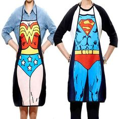 2Pcs Funny Novelty Sexy Dinner Party Superman Wonder Woman Cooking Apron