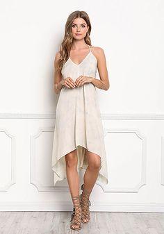 Beige Tie Dye Hi-Lo Lace Up Cami Dress Love Culture 0654966fb8ab3
