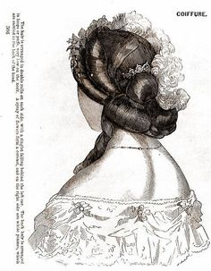 Back view of Victorian coiffure from an engraved fashion plate, 1860s