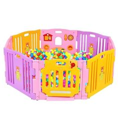 Pink Baby Girl Playpen Kids 8 Panel Safety Play Center Yard Home Indoor Outdoor Kids Activity Center, Activity Board, Baby Safety, Child Safety, Infant Activities, Activities For Kids, Kids Playpen, Baby Items For Sale, Play Centre