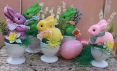 Vintage Style Glittery Easter Bunny in Egg Cup One by MagpieEthel