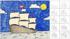 Garfield Art Rocks!  sailing ship how to