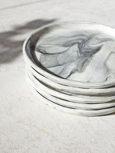 """Marbled Porcelain Plate 8"""""""