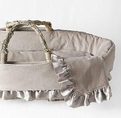 Washed Velvet Moses Basket Bedding  Restoration Hardware Baby & Child