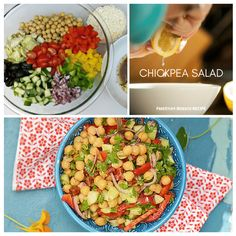 This is a really quick salad that can be made ahead of time. Serve it on the side of your favorite dish or enjoy it on its own! Diabetic Recipes, Cooking Recipes, Healthy Recipes, Chickpea Salad, Food Website, Yummy Eats, Pasta Salad, Food To Make, Salads