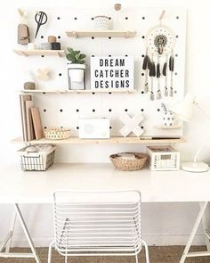 Pegboard #workspacegoals from @jessi_dreamcatcher_designs in Australia This all white workspace belongs to Jessi, an interior stylist + macrame artist Such a lovely setup with the shelves + pegboard keeping things in place ✂️ For some seriously dreamy interior inspo checkout the home Jessi has created...a boho beachy city oasis if ever we saw one ✌✌ Thanks Jessi for inspiring us with your workspace + home styling ideas PS. Your macrame room divider is