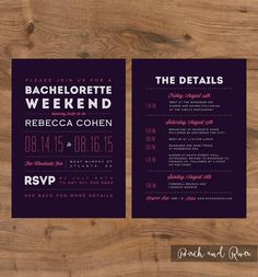Printable Bachelorette Weekend Invitation and Itinerary - colors are customizable!