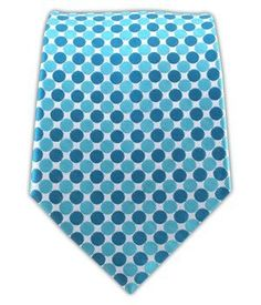 100% Woven Silk Dragee Dot Turquoise and Teal Tie