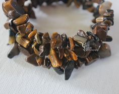 Tiger Eye Brown Stone Chip Bracelet by CarriesCreativeChaos, $18.00