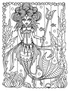 Adult Coloring Pages, Fairy Coloring Pages, Coloring Book Art, Coloring Sheets, Mermaid Coloring Book, Mermaid Pictures, Gothic Fairy, Lowbrow Art, Fairy Art
