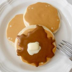 """Pancake Cookies By """"Oh, Sugar! Events""""  http://www.facebook.com/pages/The-Cookie-Cutter-Company/125229387565696#!/pages/Oh-Sugar-Events/112788605471341"""