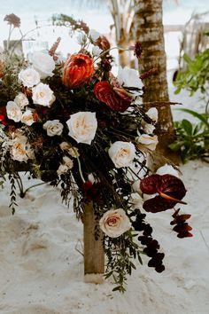 Moody and dramatic beach wedding blooms. Photo: Whitney Darling Photography Wedding Week, Wedding Film, Destination Wedding, Wedding Venues, Wedding Planning, Dark Color Palette, Ceremony Arch, Dance The Night Away, Floral Crown