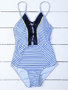 Striped Lace Up Swimwear - STRIPE XL Mobile