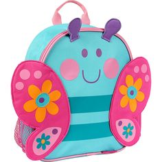 Gorgeous Toddler Butterfly Backpack by Stephen Joseph - the perfect bag for toddler's on-the-go! Made from this waterproof bag has a main compartment, a mesh side pocket, adjustable shoulder straps and a carry handle. Owl Backpack, Backpack Outfit, Toddler Backpack, Backpack Straps, Stylish Backpacks, Cute Backpacks, School Backpacks, Mochila Skip Hop, Preschool Backpack