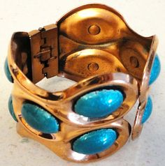 MATISSE RENOIR Copper Signed Wide Bangle Bracelet Arm Candy Turquoise Colored Ensembles Costume Jewelry